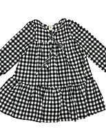 cheap -Girl's Daily Check Dress, Cotton Spring Summer Long Sleeves Simple Casual Black