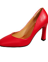 cheap -Women's Shoes PU Spring Summer Basic Pump Heels Chunky Heel Pointed Toe for Casual Party & Evening White Black Red