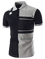 cheap -Men's Work Vintage Street chic Cotton Slim Polo - Color Block, Patchwork Shirt Collar