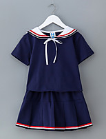 cheap -Girl's Daily Solid Dress, Cotton Summer Short Sleeves Simple Active White Royal Blue
