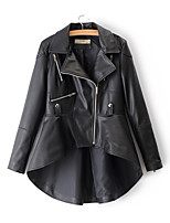 cheap -Women's Vintage Leather Jacket-Solid Colored,Beaded Pleated