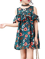 cheap -Girl's Daily Holiday Solid Colored Floral Dress, Cotton Polyester Summer Short Sleeves Active Basic Green Orange