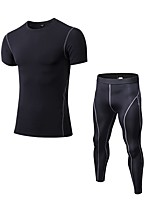Недорогие -Муж. Activewear Set С короткими рукавами Длинные Пант Воздухопроницаемость Наборы одежды для Прогулки Полиэстер Белый Черный Синий