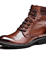 cheap -Men's Shoes Cowhide Winter Snow Boots Boots Mid-Calf Boots for Casual Black Brown