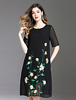 cheap -8CFAMILY Women's Plus Size Active Loose Dress - Floral Embroidered