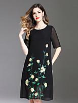 abordables -Femme Grandes Tailles Actif Ample Robe - Brodée, Fleur Midi