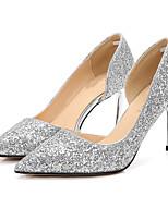 preiswerte -Damen Schuhe Glitzer Sommer Herbst Pumps High Heels Stöckelabsatz Spitze Zehe Paillette für Party & Festivität Schwarz Silber Schwarz und