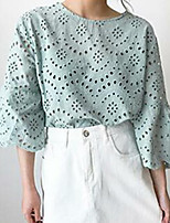 cheap -Women's Daily Simple Blouse Round Neck 3/4 Length Sleeves Cotton