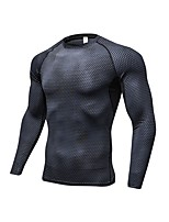 cheap -Men's Running T-Shirt Long Sleeves Breathability T-shirt for Exercise & Fitness Polyester White Black Blue Red/White Grey S M L XL XXL