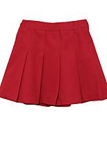 abordables -Robe Fille de Quotidien Ecole Couleur Pleine Coton Automne Sans Manches simple Noir Rouge
