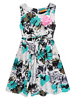cheap -Girl's Daily Going out Floral Print Dress, Linen Spring Summer Sleeveless Cute Active Blue