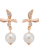 cheap -Women's Drop Earrings Cubic Zirconia Imitation Pearl Elegant Fashion Imitation Pearl Zircon Gold Plated Cross Circle Jewelry Gold/White
