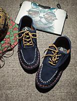 baratos -Homens sapatos Pele Primavera Conforto Tênis para Casual Cinzento Azul