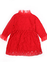 cheap -Girl's Daily Solid Dress, Polyester Spring Summer Long Sleeves Simple Red Blushing Pink