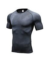 cheap -Men's Running T-Shirt Short Sleeves Breathability T-shirt for Exercise & Fitness Basketball Polyester White Black Blue Red/White Grey S M