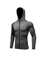 cheap -Men's Running Jacket Long Sleeves Breathability Jacket for Exercise & Fitness Polyester Black Dark Blue Grey S M L XL XXL