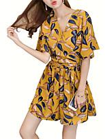 cheap -Women's Casual Boho Blouse - Floral Geometric, Oversized Print Pant