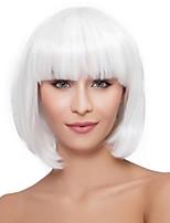 Недорогие -Парики из искусственных волос Кудрявый Стрижка боб С чёлкой Природные волосы плотность Без шапочки-основы Жен. Белый Знаменитый парик
