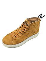baratos -Homens sapatos Couro de Porco Inverno Conforto Tênis para Casual Preto Khaki
