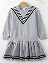 cheap -Girl's Daily Striped Dress, Polyester Spring Long Sleeves Vintage Black Gray
