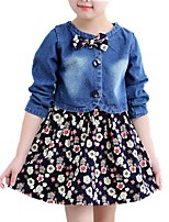 cheap -Girls' Daily Floral Clothing Set, Cotton Spring Fall Long Sleeves Cute Blue