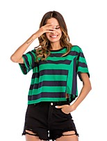 cheap -Women's Loose T-shirt - Striped, Patchwork