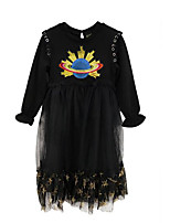 cheap -Girl's Daily Solid Print Dress, Cotton Spring Summer Long Sleeves Simple Casual Black