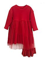 Недорогие -Девичий Платье Повседневные Полиэстер Однотонный Весна Длинный рукав Простой Черный Красный