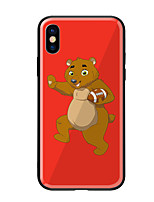 baratos -Capinha Para Apple iPhone X iPhone 8 Estampada Capa traseira Animal Rígida Vidro Temperado para iPhone X iPhone 8 Plus iPhone 8 iPhone 7