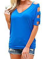 cheap -Women's Basic Street chic Batwing Sleeve T-shirt - Solid Colored V Neck