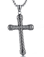 cheap -Men's Cross Shape Casual Fashion Cool Pendant Necklace , Steel Titanium Pendant Necklace Daily Street Costume Jewelry