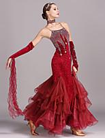 cheap -Ballroom Dance Dresses Women's Training Performance Velvet Crystals/Rhinestones Sleeveless High Dress Bracelets Neckwear