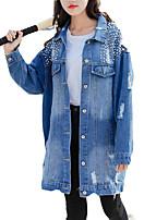 baratos -Mulheres Jaqueta jeans Vintage-Criativo Paetês
