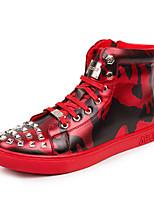abordables -Homme Chaussures Cuir Printemps Automne Confort Basket Rivet pour Décontracté De plein air Noir Rouge