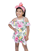 cheap -Girl's Floral Dress, Cotton Polyester Summer Short Sleeves Cute Casual Rainbow