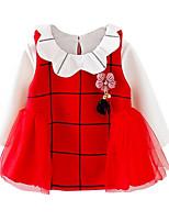 economico -Vestito Ragazza Quotidiano Per eventi Cotone A strisce Monocolore Inverno Autunno Manica lunga Romantico Attivo Rosso Rosa