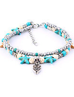 cheap -Bohemian Turquoise Silver Plated Anklet - Women's Turquoise Bohemian Fashion Owl Starfish Silver Plated Alloy Anklet For Bikini Holiday