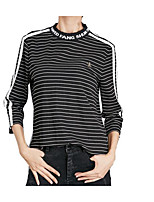 cheap -Women's Basic Street chic Puff Sleeve T-shirt - Striped