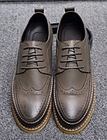 cheap -Men's Shoes Cowhide Fall Winter Comfort Oxfords for Casual Black Gray Brown