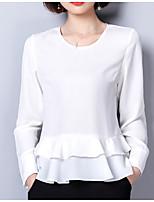 baratos -Mulheres Blusa Sólido Decote U Solto