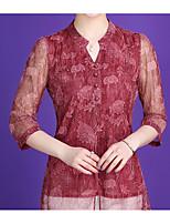 preiswerte -Damen Solide T-shirt Polyester