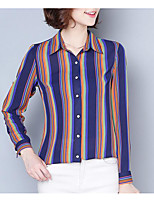 Недорогие -Жен. Рубашка, Рубашечный воротник Однотонный Полоски