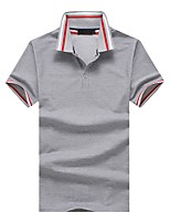 cheap -Men's Work Cotton Slim Polo - Striped Color Block, Patchwork Shirt Collar