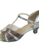 cheap -Women's Latin Leather Heel Indoor Customized Heel Silver Gray Customizable