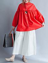 abordables -Tee-shirt Grandes Tailles Femme, Couleur Pleine - Coton Glands Manche Gigot Ample