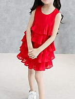 cheap -Girl's Daily Going out Solid Colored Dress, Cotton Summer Sleeveless Cute White Red