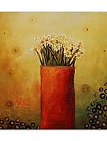 baratos -Pintura a Óleo Pintados à mão Vida Imóvel Floral/Botânico Quadrada, Contemprâneo Modern Tela de pintura Decoração para casa 1 Painel