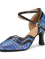 cheap -Women's Modern Sparkling Glitter Leatherette Sandal Heel Professional Customized Heel Blue Customizable