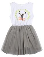 cheap -Girl's Daily Color Block Dress, Polyester Spring Summer Sleeveless Cute Gray