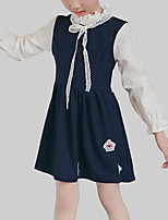 cheap -Girl's Daily Patchwork Dress, Rayon Spring Fall Short Sleeves Long Sleeves Cute Casual Green Navy Blue